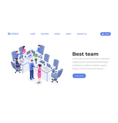 best team isometric landing page template vector image