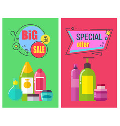 Big sale for toiletry products promotional posters vector
