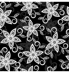 black and white floral background lace flowers vector image