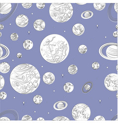 black white pattern planets of the solar system vector image