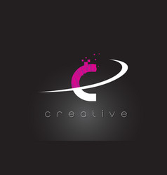 c creative letters design with white pink colors vector image