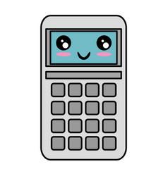 Calculator math kawaii character vector
