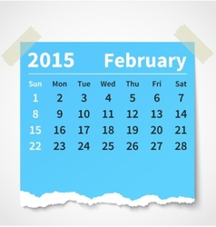 Calendar february 2015 colorful torn paper vector