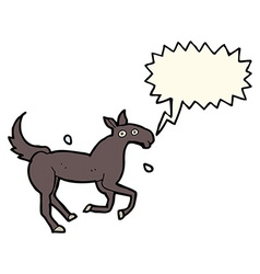 Cartoon horse sweating with speech bubble vector