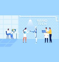 cartoon nano tech research center for ai creation vector image