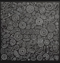 cartoon set donuts objects and symbols vector image