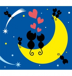 cats on the moon vector image