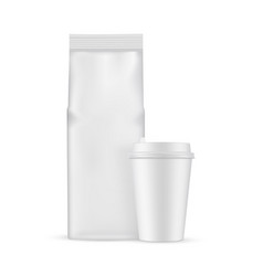 coffee bag with paper cup mockup isolated vector image