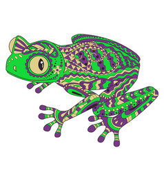 coloried frog in patterned style vector image