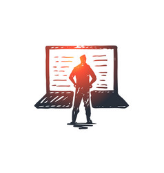 computer laptop person work technology concept vector image