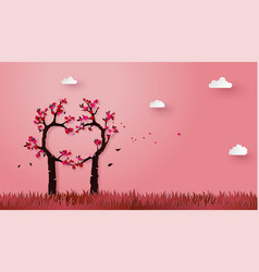 Concept of love and valentine day with love tree vector