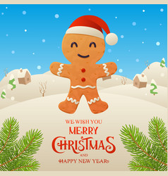 cute cartoon gingerbread character merry vector image