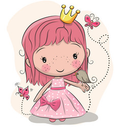 Cute fairy-tale princess and a bird vector