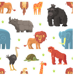 cute wild jungle animals seamless pattern design vector image