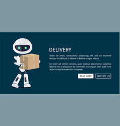 delivery robot and box web vector image