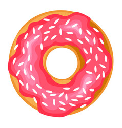 donut sweet tasty dessert food with sprinkles vector image