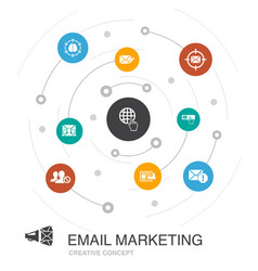 Email marketing colored circle concept with simple vector