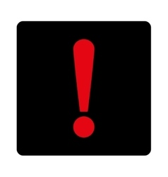 Exclamation Sign flat intensive red and black vector