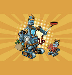 Family retro robots dad and baby vector