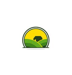 farm house landscape village logo vector image