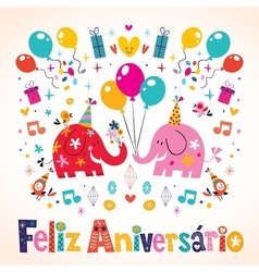 Feliz Aniversario Portuguese Happy Birthday cute vector image