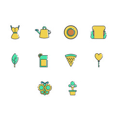 flat color spring season icon set vector image