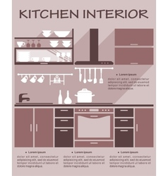 Flat kitchen interior design vector image