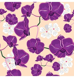 Floral seamless pattern with orchids vector image