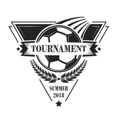 Football tournament logotype or emblem in retro vector