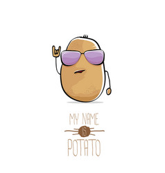 Funny cartoon cute brown potato vector