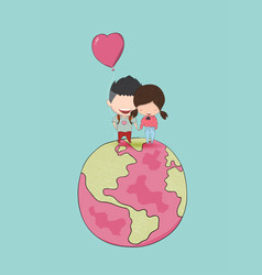 Girl and boy with heart shaped balloon on globe vector