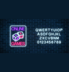 glowing neon sign of online casino application vector image