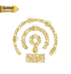 Gold glitter icon of wifi isolated on vector