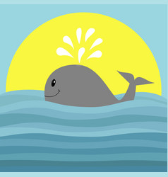 Gray whale with water fountain sea ocean wave vector