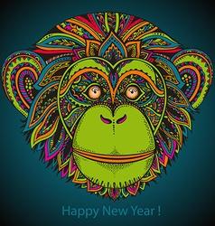 Hand drawn colorful of ornate zentagle chimp vector image