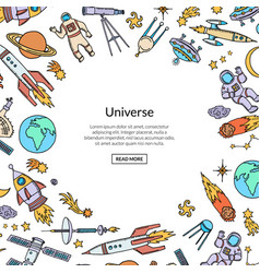 Hand drawn space rocket background with vector