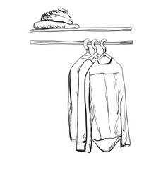 Hand drawn wardrobe sketch with clothes hall vector