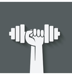 hand with dumbbell fitness symbol vector image