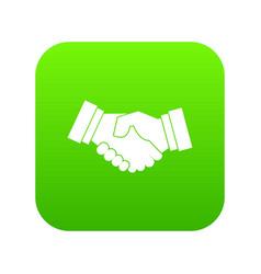 handshake icon digital green vector image