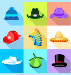 Hat icons set flat style vector