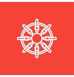 Helm line icon vector