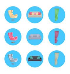 Home interior collection icons vector