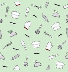 kitchen utensils seamless pattern on green vector image