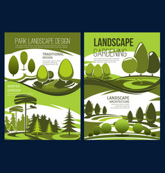 Landscape design garden green tree and lawn vector