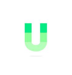 logo letter u green energy battery vector image
