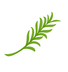 Minimal branch with green leaves vector