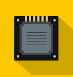 Modern multicore cpu icon flat style vector