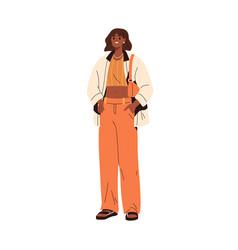 Modern stylish woman wearing summer fashion vector
