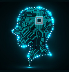 Neon human head cpu circuit board vector