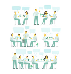 office team set blue gamma business people big set vector image